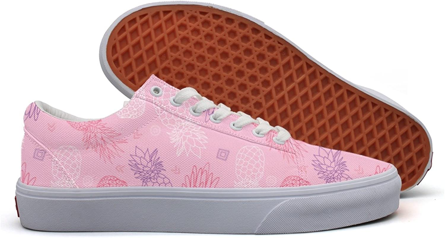 Casual Pink Purple Pineapples Doodle Texture Womens Canvas shoes