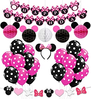 Kreatwow Minnie Themed Birthday Party Supplies Decorations for 1st 2nd 3rd Birthday Baby Shower