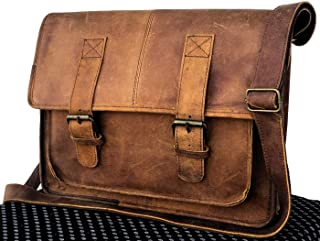 "Tuzech Genuine Leather Bag 15"" Vintage Buffalo Messenger Satchel Laptop Briefcase Unisex Bags Crazy Briefcase Bags for Men Women"