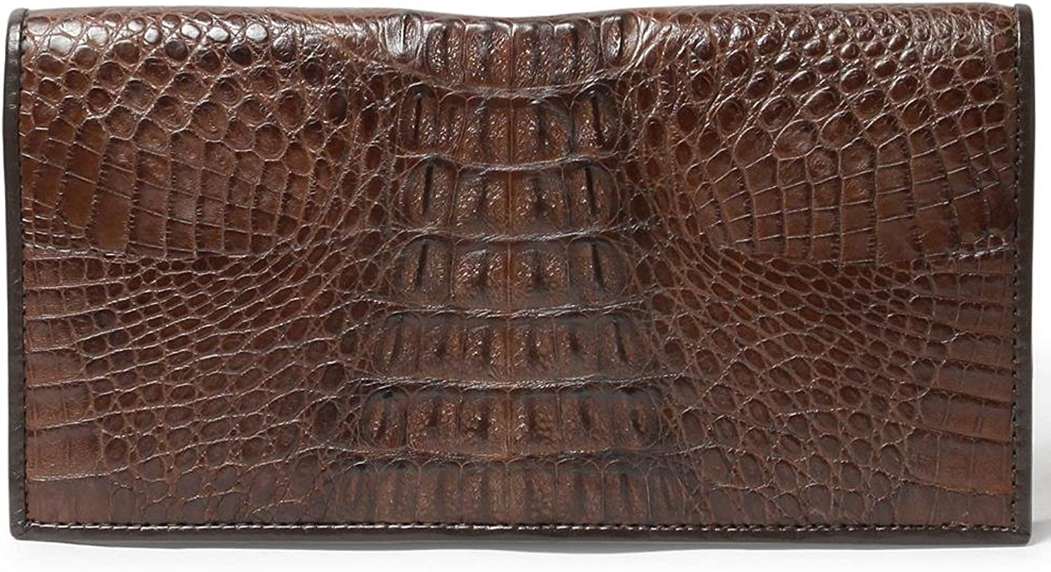 Genuine Crocodile Bone Tail Leather Bifold Clutch Card Zip Coin Wallet Tan Brown
