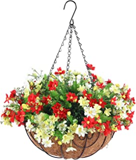 Hanging Flowers Basket,Fall Flower Centerpieces, Artificial Daisy Flowers in 12 inch Coconut Lining Hanging Baskets for Th...