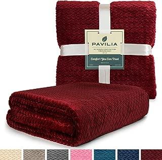 PAVILIA Luxury Soft Plush Wine Red Throw Blanket for Sofa, Couch | Silky Velvet Fleece Chevron Pattern Throw | Cozy Lightweight Microfiber, Reversible Burgundy Blanket | All Season | 50 x 60 Inches