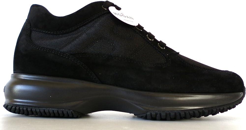 Hogan scarpe donna interactive nero camoscio e tessuto HXW00N00E10FI7B999