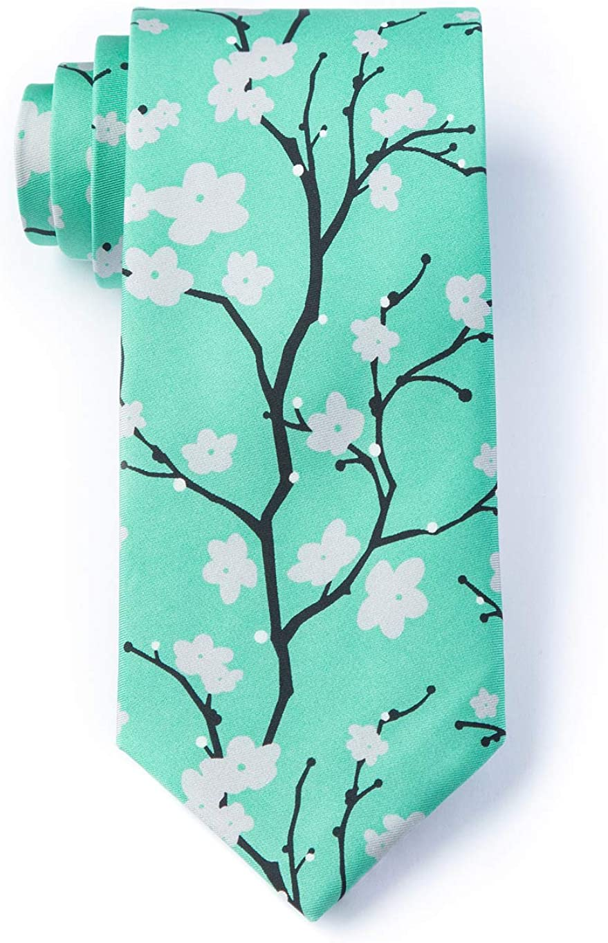 Turquoise Microfiber Tie Recommendation NEW Blossoms Necktie Cherry