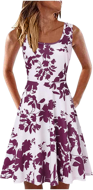 UQGHQO Summer Dresses for Women, Womens Fashion Floral Print Sleeveless U Neck Short Mini Tank Dress Beach Party Dress