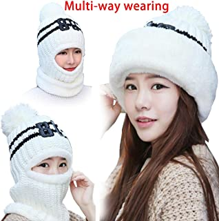 Winter Snow Ski Face Mask Fleece Hat Balaclava Beanies Windproof Neck Warmer 3 in 1 for Women Girls Child