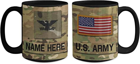US Army Colonel (COL), O6 Mug - Personalized - Customize with Name/Text/Rank; 15 oz Cup - Gift for Veteran, Dad, Husband, Mom, Wife, Brother, Sister, Son, Daughter