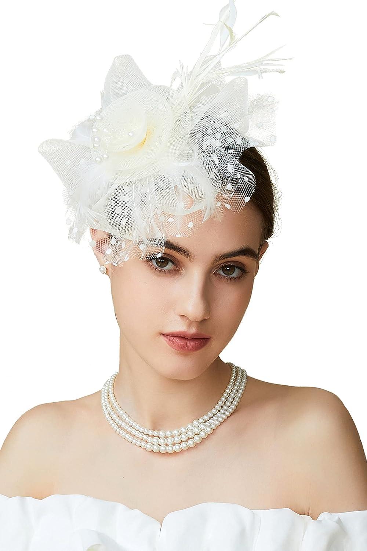 BABEYOND Women's Fascinators Hat Mesh Feather Fascinator Veil Kentucky Derby Hat for Cocktail Tea Party