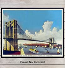 Brooklyn Bridge Vintage Wall Art - Home Decor Poster Print - Unique Room Decorations - Great Gift for New Yorker, New York City, NY, NYC, Manhattan Fans - 8x10 Photo Unframed