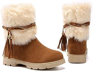 Susanny Women's Fashion Warm Short Booties Outdoor Suede Flat Waterproof Faux Fur Snow Boots Yellow Size: 4