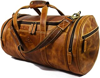 Travel Duffel Overnight Barrel Weekend Leather Bag by Aaron Leather (Brown)