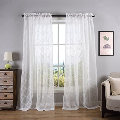 White Sheer Curtains with Pattern: Amazon.com