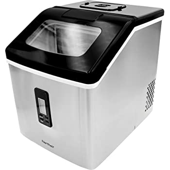 500 Cups Drinks Stainless Steel Northair Ice Maker Countertop with 40lbs//Day 24pcs Ice Cube Produce in 15 Minutes Compact Ice Make Machine Manual Water Intake Selected S//M//L Square Ice
