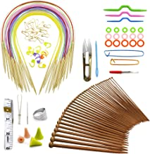 Knitting Needles Set Chest Accessories for Knitting Wool Scarf Bonnet DIY 18 Pairs Circular Needles 80cm Multicolor Tube,18 Pairs Bamboo Needles 2.0mm-10mm