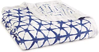 aden + anais Silky Soft Dream Blanket | 100% Viscose Bamboo Muslin Baby Blankets for Girls & Boys | Ideal Newborn Nursery & Crib Blanket | Unisex Toddler & Infant Boutique Bedding, Indigo Shibori Blue