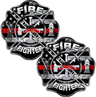 Firefighter Thin Red Line 2 pack Stickers - #FS2024 - Fire Fighter Usa Decal Car Truck Laptop Bumper Windshield Window Memorial American Remember Maltese Cross Aiff For Adults Honor Emt