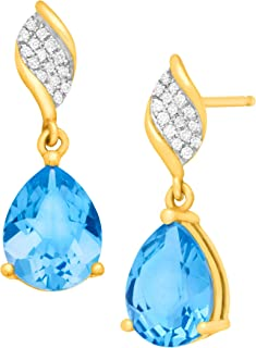 Color Stone Drop Earrings with Diamonds in 10K Gold
