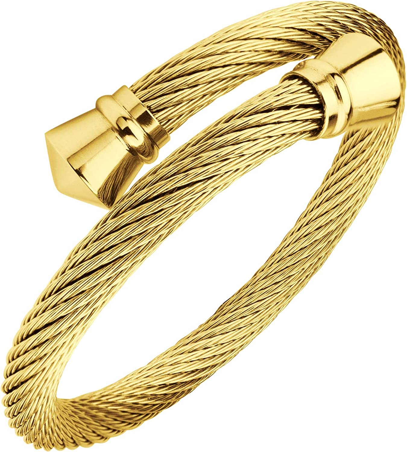 555Jewelry Classic Vintage Stainless Steel Twisted Wire Cuff Bracelet Bangle