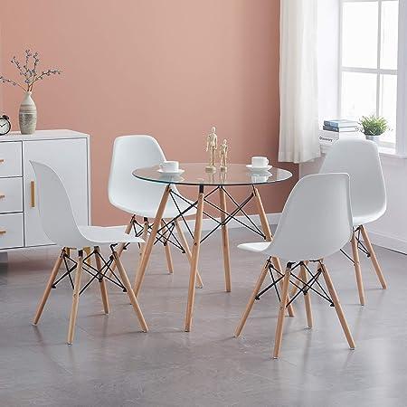 H.J WeDoo Ensembles de Meubles de Salle à Manger, Ronde Table de Salle à Manger en Verre avec 4 Moderne Scandinaves Blanc Chaises