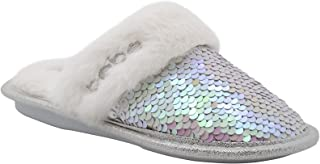 bebe Girls' Big Kid Slip On Flip Sequin Plush Slippers with Faux Fur Trim, Cute Shimmer Bling Flat Shoes for Indoor, Outdo...