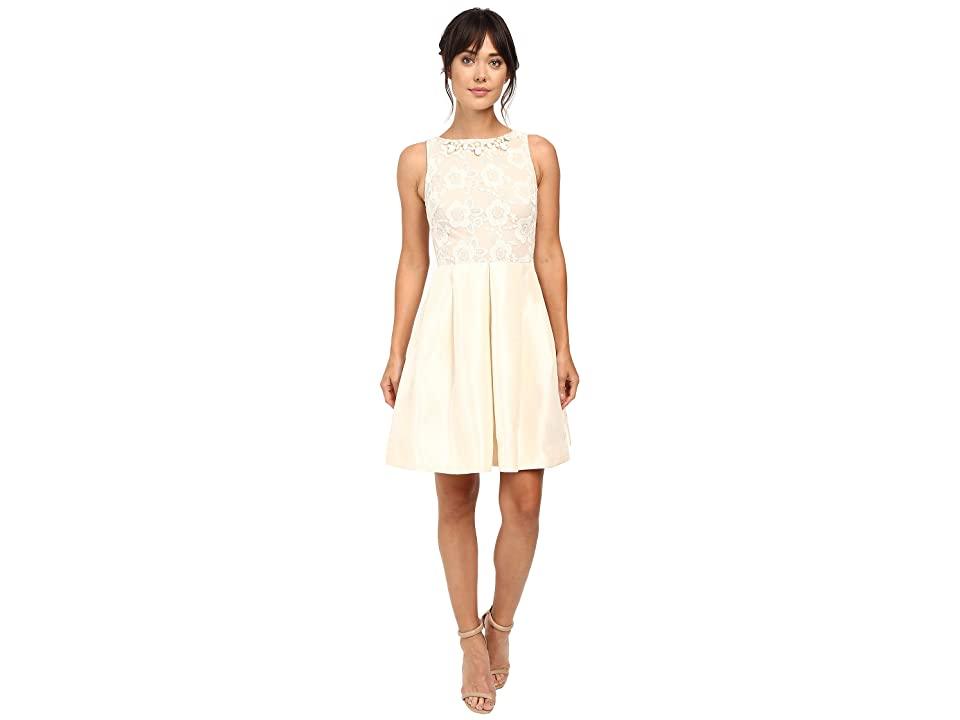 Taylor Shantung with Lace Party Dress (French Vanilla) Women