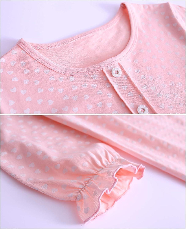 Auranso Little Girls Princess Nightgowns Heart Print Sleepwear Nightdress 2-10Y