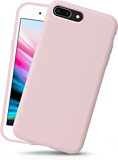 OCOMMO iPhone 8 Plus Silicone Case, iPhone 7 Plus Silicone Case, Full Body Drop Protective Gel Case with Soft Lining, Wireless Charge Pad Compatible, Sand Pink