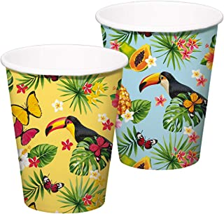 Folat 20721 Tropical Toucan Disposable Cups 350 ml-8 Pieces, Multi-Colored