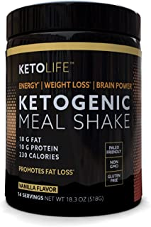 KetoLife Ketogenic Meal Shake Vanilla Dietary Supplement, Rich in MCTs and Protein, Keto and Paleo Friendly, Weight Loss, ...