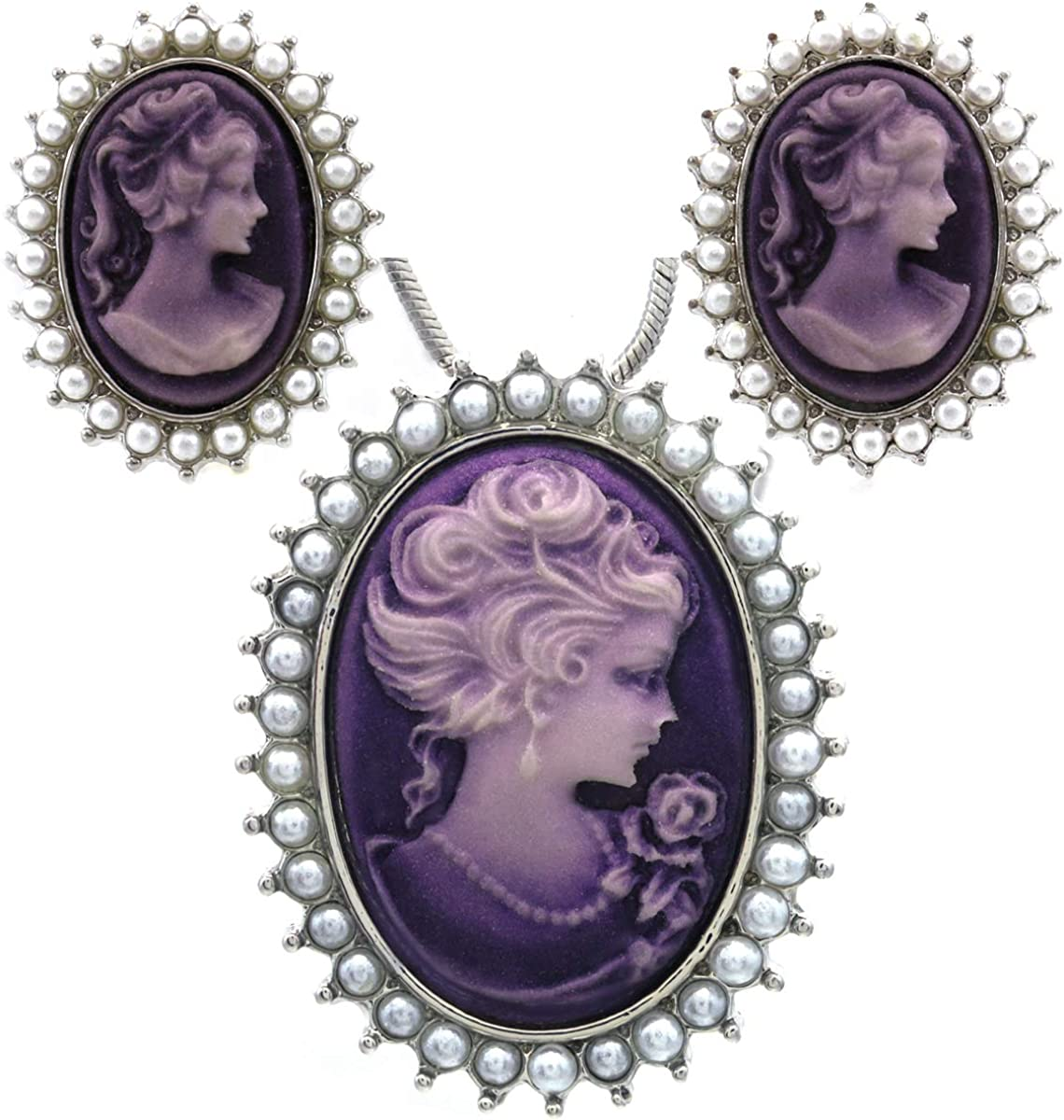 Soulbreezecollection Lavender Purple Cameo Jewelry Set Necklace Pendant Stud Post Earrings Faux Pearl