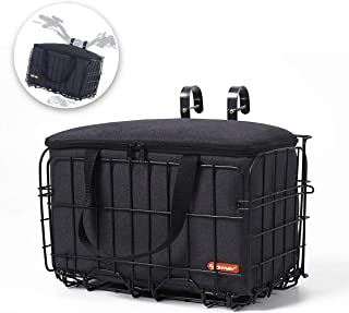 ONWAY Front Handlebar Bike Basket Folding Bicycle Lift-Off Basket with Carrier Tote Basket Liner Bag, Brown/Black