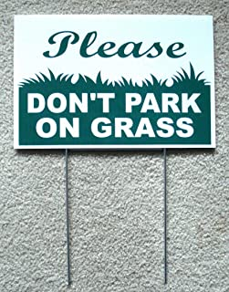 Peter Select Please Don't Park ON Grass 8''X12'' Plastic Coroplast Sign with Stake New Funny Retro Vintage Business Nostalgic Signs