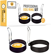 JORDIGAMO Professional Egg Ring Set For Frying Or Shaping Eggs - Round Egg Cooker Rings For Cooking - Stainless Steel Non Stick Mold Shaper Circles For Fried Egg McMuffin Sandwiches - Egg Maker Molds