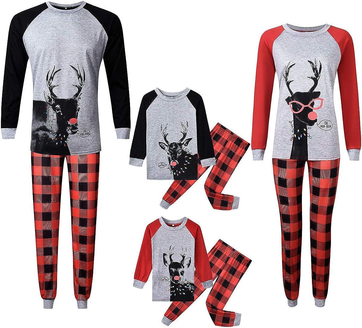 Family Matching Christmas Pajamas Sets Deer Printed Long Sleeve TeePlaid Pants Loungewear Sleepwear
