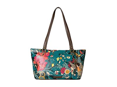 Sakroots Artist Circle Small Satchel (Teal Flower Power) Tote Handbags