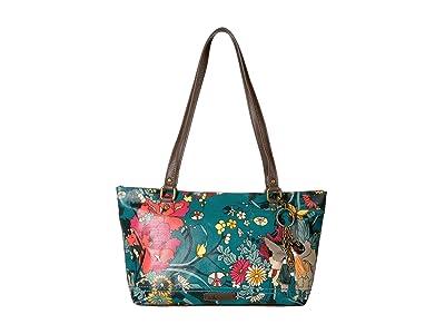 Sakroots Artist Circle Small Satchel (Teal Flower Power) Tote Handbags