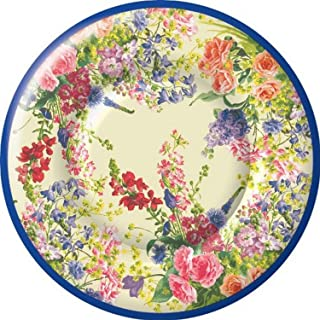 Ideal Home Range 8 Count Boston International Round Paper Dessert Plates, Bouquet of Flowers