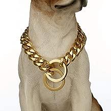 Loveshine Gold Tone Dog Collar, 15mm Wide Metal Slip Chain - Cool + Best for Large Dogs: Pitbull, Doberman, Bulldog, Rottweiler & More!