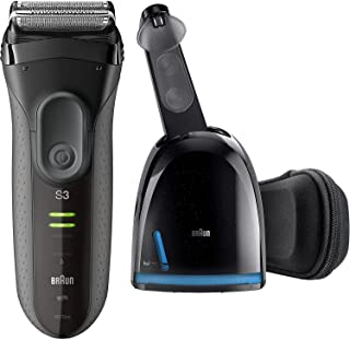 Braun Series 3 ProSkin 3070cc Men's Electric Foil Shaver / Rechargeable Electric Razor, and Clean & Charge Station, Black