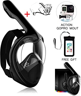 Marlrin Full Face Snorkel Mask, Snorkeling Mask for Adults and Kids with Detachable Camera Mount, 180 Degree Large View Free Breath Dry Top Set Anti-Fog Anti-Leak