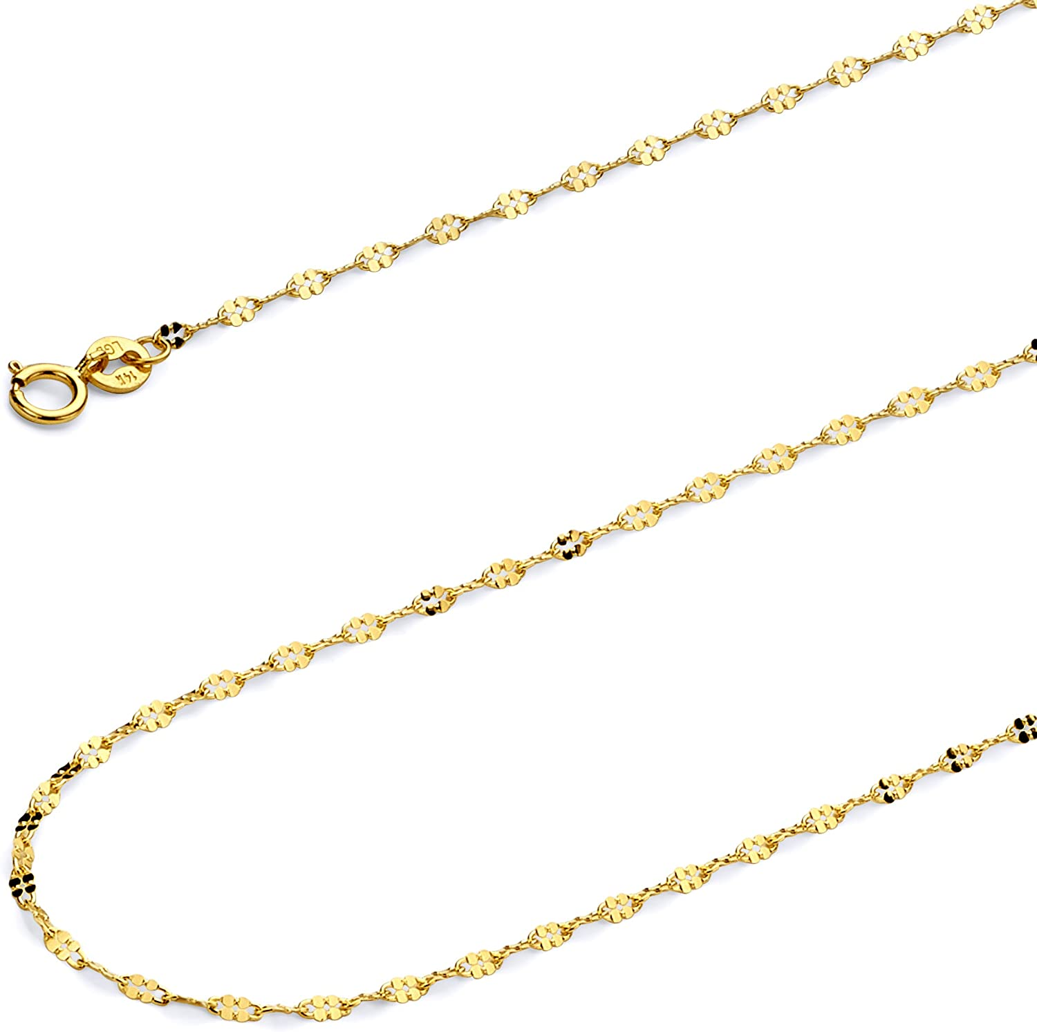 Wellingsale 14k Yellow Gold Polished Solid 1.7mm Twisted Mirror Chain Necklace with Spring Ring Clasp