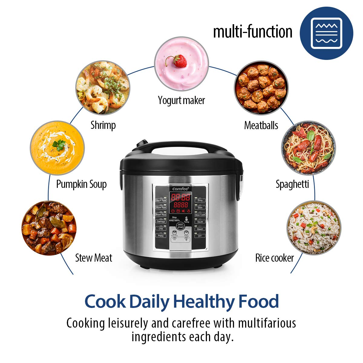 COMFEE' Rice Cooker, Slow Cooker, Steamer, Stewpot, Saute All in One (12 Digital Cooking Programs) Multi Cooker (5.2Qt ) Large Capacity, 24 Hours Preset & Instant Keep Warm