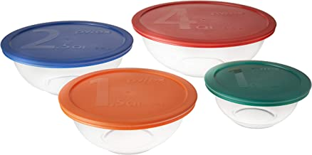 Pyrex 711717427560 Smart Essentials Mixing Bowl Set Including Locking Lids (Clear), 8 piece, Multicolor