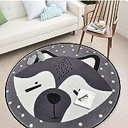 Round Area Rug, Living Room Carpet Bedroom Rug Super Soft Anti-Slip Cartoon Animal Baby Floor Mat for Kids Children Girls Room Decorator, 3.28 Feet (Fox)