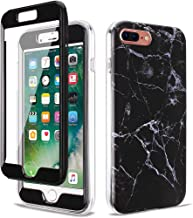GOLINK Full Body Shockproof Protective Case with Built-in Screen Protector for 5.5 inch iPhone 7 Plus and iPhone 8 Plus(Black Marble)