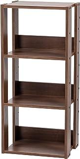 Marca Amazon - Iris Ohyama OWR-400 Estante abierto de madera con 3 compartimentos y 3 estantes de madera marrón (roble ma...
