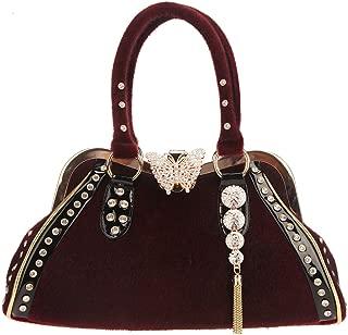 Butterfly Tassel Fur Crystal Handbags For Women Top-Handle Bags