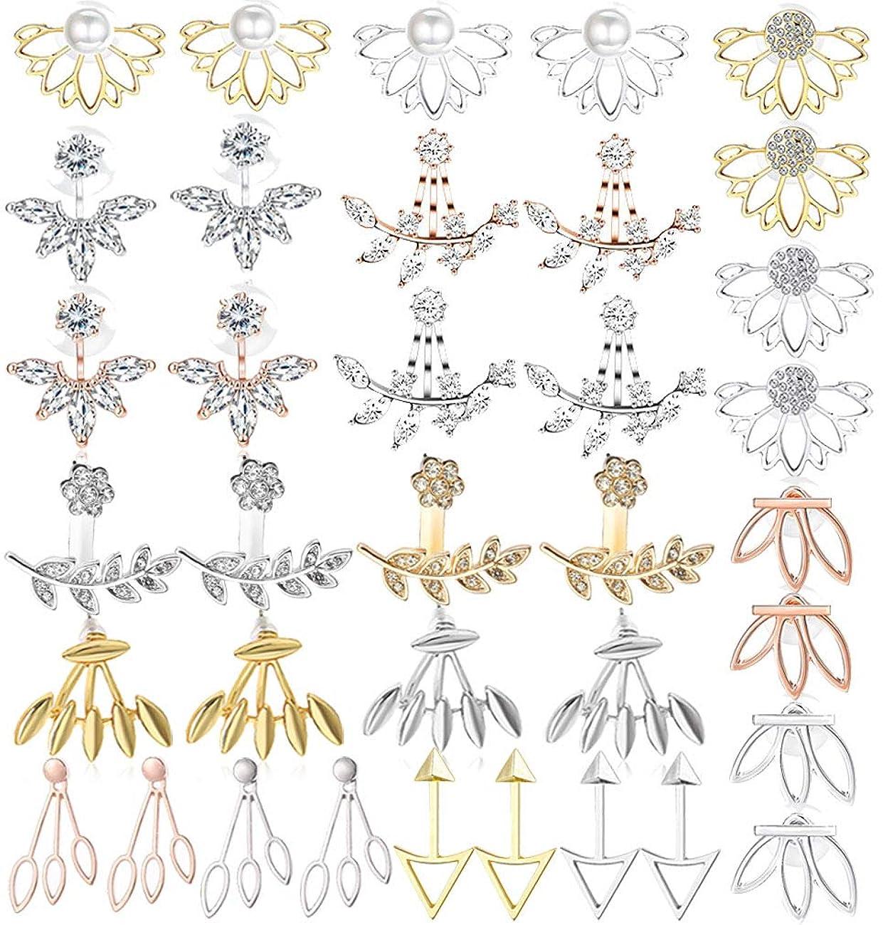 WAINIS 18Pairs Multiple Dainty Lotus Flower Ear Jacket Stud Earrings for Women and Girls Boho Chic Cz Stud Ear Jewelry Earring Set