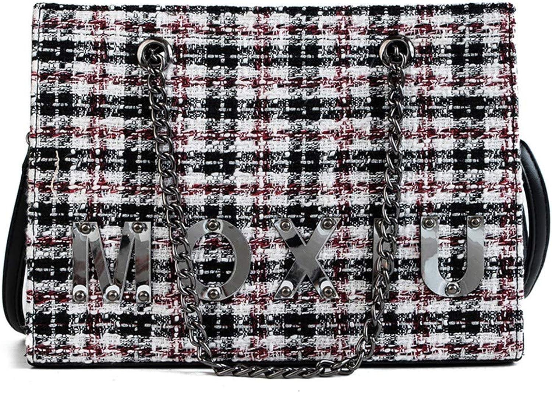 H-M-STUDIO New Autumn and Winter Fashion Woolen Retro Plaid Crossbody Bag White 29  22  12Cm
