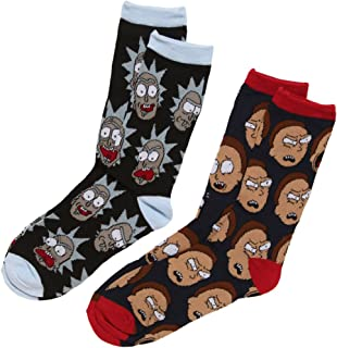Hypnotic Hats Rick & Morty Faces 2-Pack Adult Crew Socks, Multi, Size Fits Shoe Size 6-12